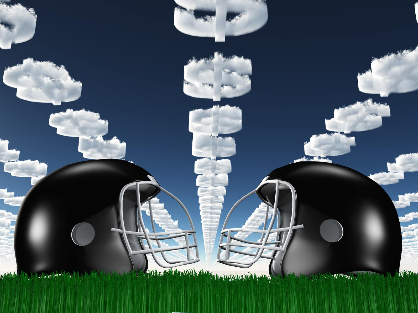 Football Helmet on Grass with Dollar `Symbol Clouds